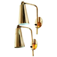 Rare Pair of Brass Paavo Tynell Wall Lights, Hotel Vaakuna Finland 1950s