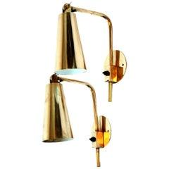 Rare Pair of Brass Paavo Tynell Wall Lights, Hotel Vaakuna, Finland, 1950s