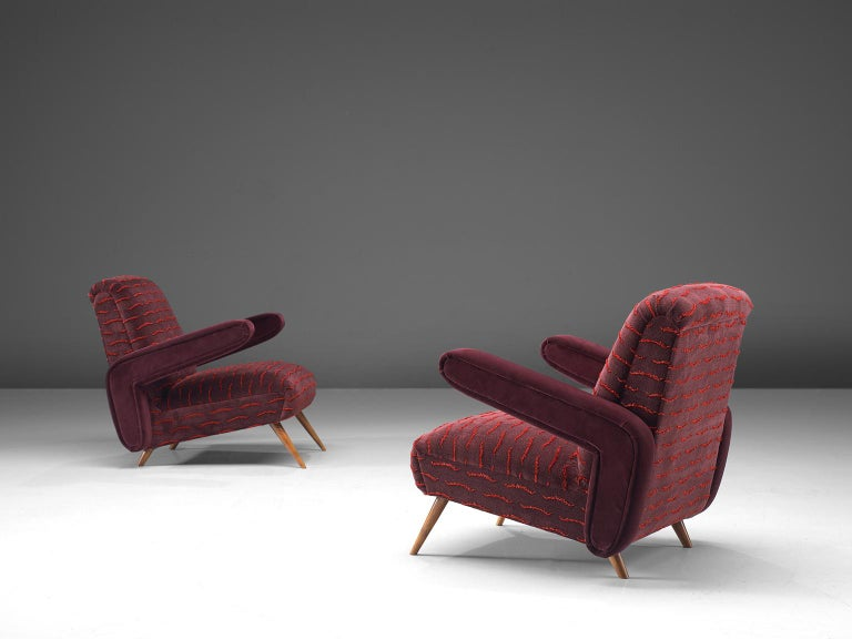 Giuseppe Scapinelli, set of 2 customized lounge chairs, caviuna wood and fabric, Brazil, 1950s.  Rare and exclusive pair of armchairs by renowned Brazilian designer Giuseppe Scapinelli. This chair exposes a sculptural yet playful design with a