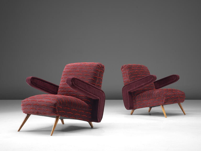 Mid-Century Modern Rare Pair of Brazilian Armchairs Reupholstered in Luxurious Burgundy Velvets For Sale