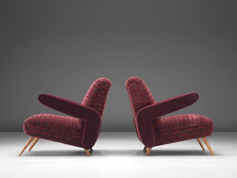 Mid-20th Century Rare Pair of Brazilian Armchairs Reupholstered in Luxurious Burgundy Velvets For Sale