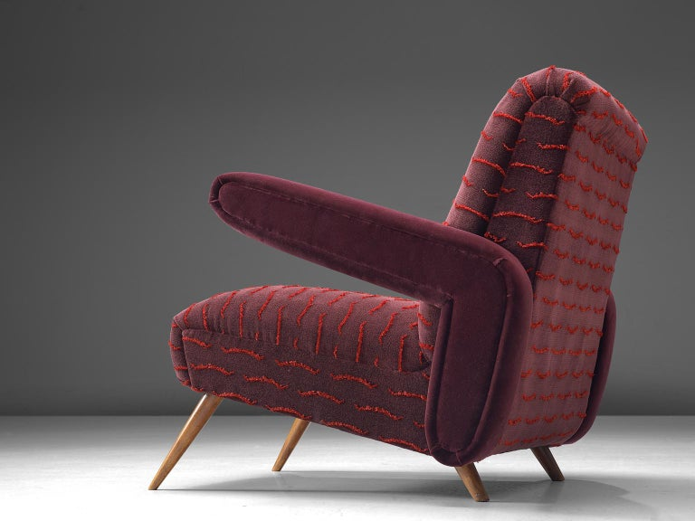 Fabric Rare Pair of Brazilian Armchairs Reupholstered in Luxurious Burgundy Velvets For Sale