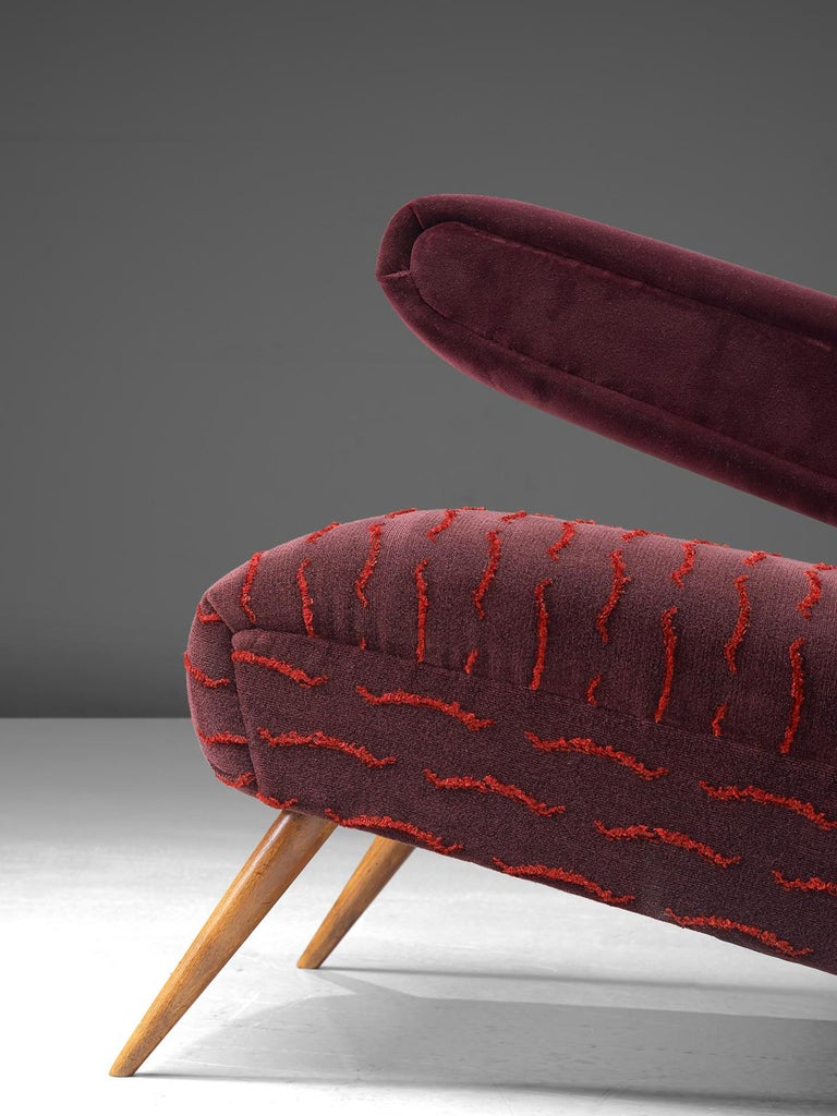 Rare Pair of Brazilian Armchairs Reupholstered in Luxurious Burgundy Velvets For Sale 1