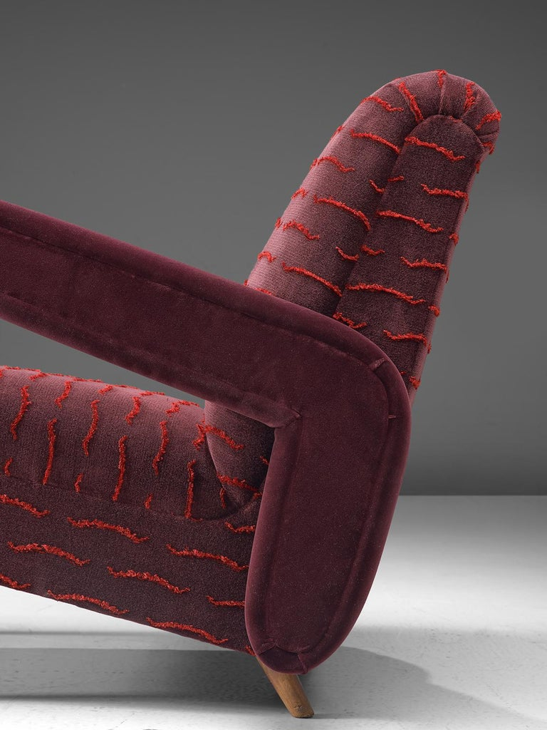 Rare Pair of Brazilian Armchairs Reupholstered in Luxurious Burgundy Velvets For Sale 2