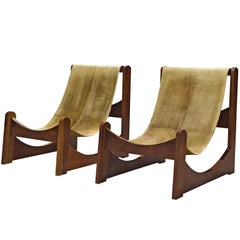 Rare Pair of Brazilian Lounge Chairs in Leather and Wood