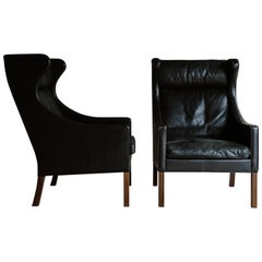 Rare Pair of Børge Mogensen Wingback Chairs, Denmark, 1970s