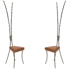 Rare Pair of Bronze Chairs Style of Franck Evennou