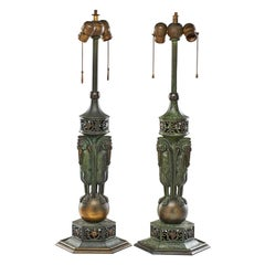 Rare Pair of Bronze Patinated Table Lamp by  Oscar Bruno Bach