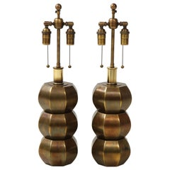 Rare Pair of Bronzed Sphere Lamps by Westwood Industries