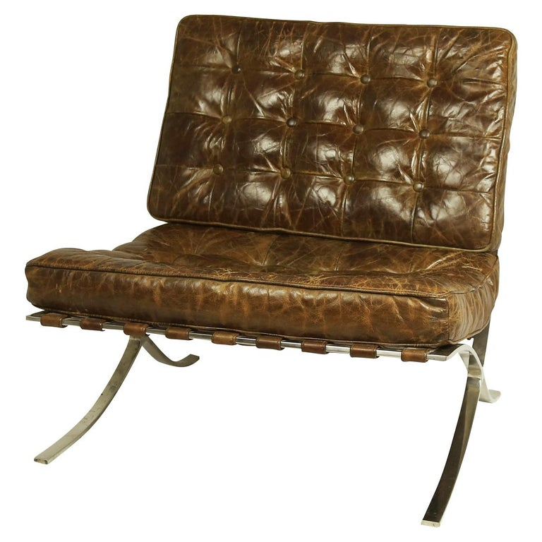Mid-Century Modern Rare Pair of Brown Distressed Leather Barcelona Chairs by Mies van der Rohe For Sale