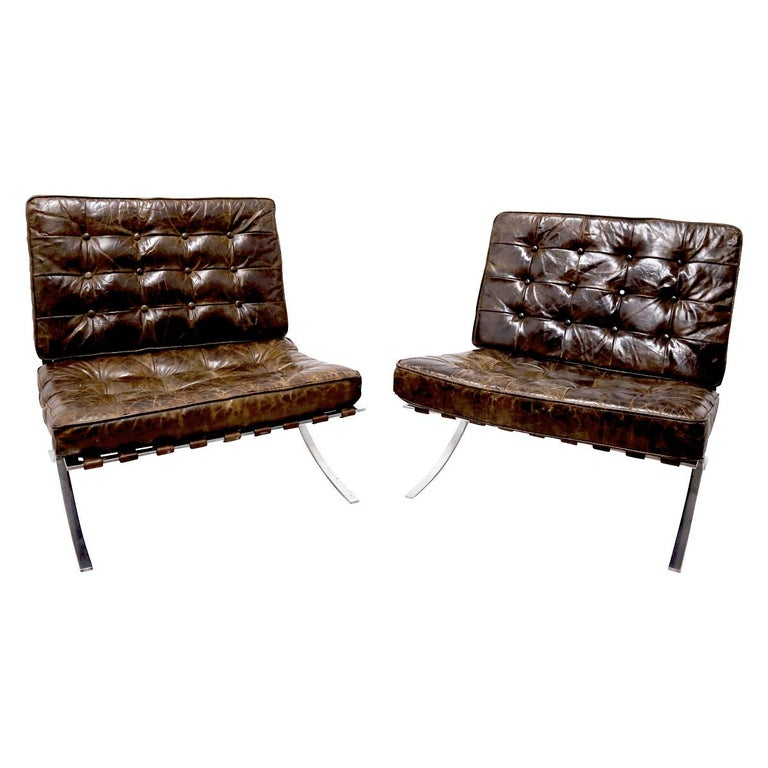 Late 20th Century Rare Pair of Brown Distressed Leather Barcelona Chairs by Mies van der Rohe For Sale