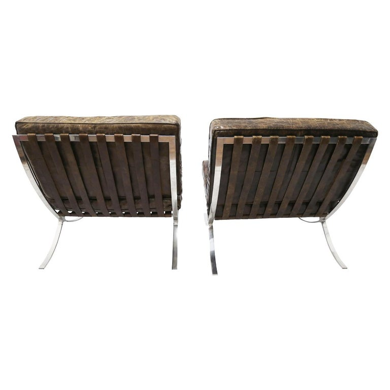 Stainless Steel Rare Pair of Brown Distressed Leather Barcelona Chairs by Mies van der Rohe For Sale