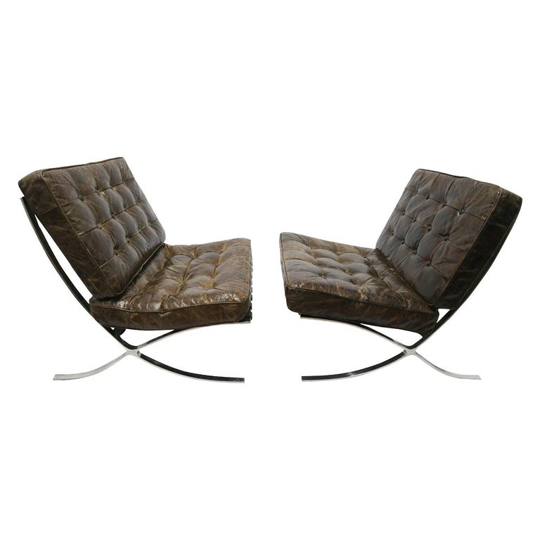 Rare Pair of Brown Distressed Leather Barcelona Chairs by Mies van der Rohe For Sale