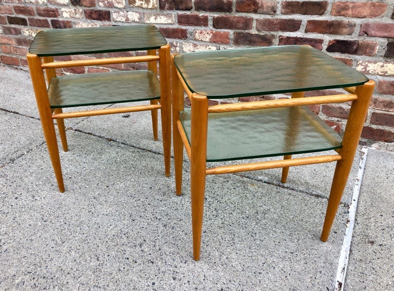 Rare Pair of Bruno Mathsson Oak and Glass Side Tables For Sale 1