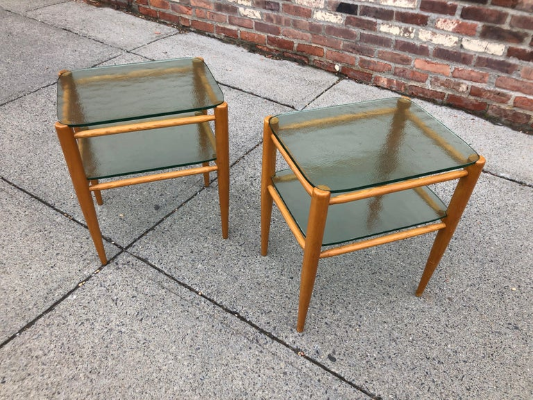 Rare Pair of Bruno Mathsson Oak and Glass Side Tables For Sale 3