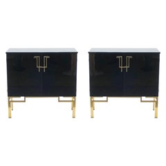 Rare Pair of Cabinets Bar Guy Lefevre for Maison Jansen Brass Lacquered, 1970s