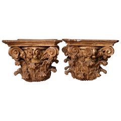 Rare Pair of Carved and Gilded Wooden Capitals