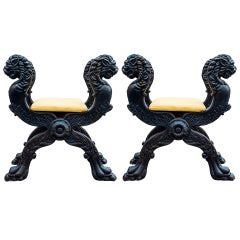 Rare Pair of Castle Curule Seats, France, Late 19th Century