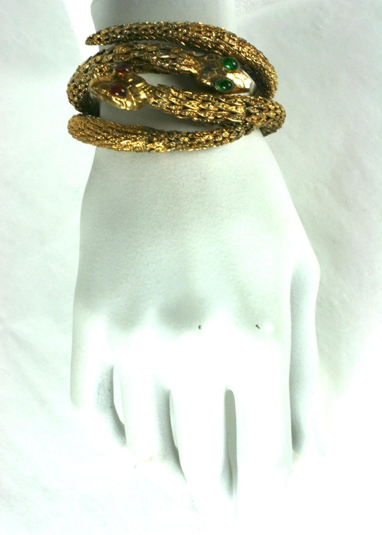 Rare Pair of Chanel Haute Couture Snake Bangles, Maison Goossens For Sale 5