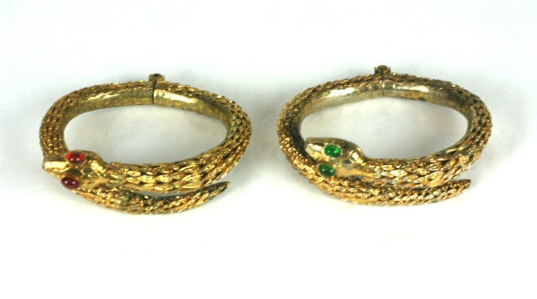 Rare Pair of Chanel Haute Couture Snake Bangles, Maison Goossens In Good Condition For Sale In Riverdale, NY