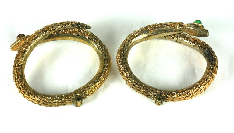 Rare Pair of Chanel Haute Couture Snake Bangles, Maison Goossens For Sale 1