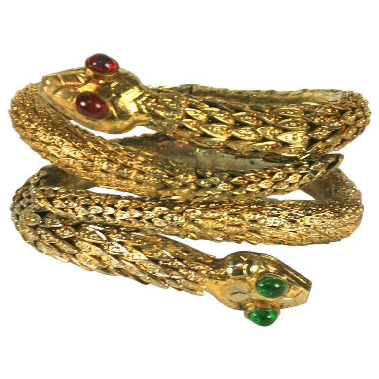 Rare Pair of Chanel Haute Couture Snake Bangles, Maison Goossens For Sale