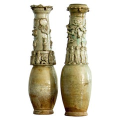 Rare Pair of Chinese Song Dynasty Earthenware Vases