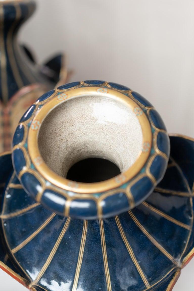 Rare Pair of Colourful Lotus Shape Satsuma Japanese Vases For Sale 3