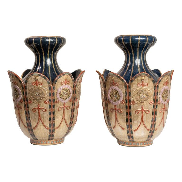 Rare Pair of Colourful Lotus Shape Satsuma Japanese Vases For Sale
