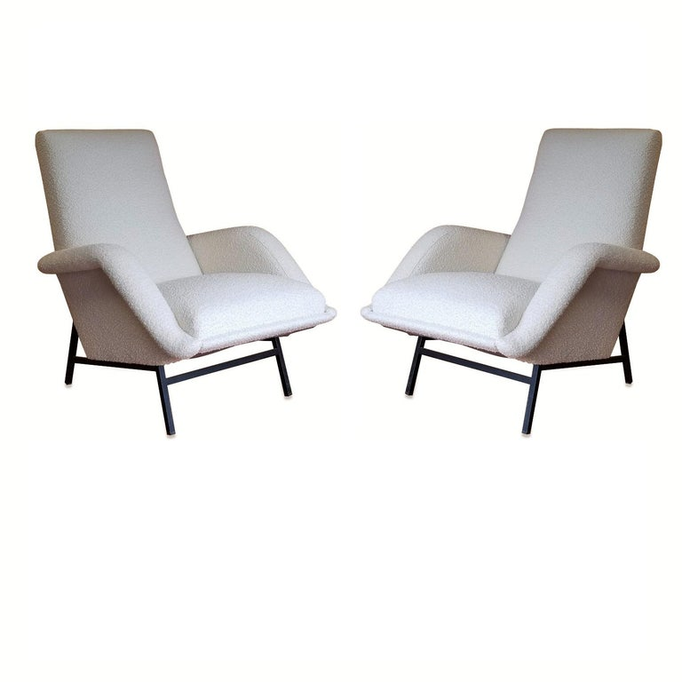 Freshly re-upholstered in Bisson Bruneel Crème Bergame fabric Edition Claude Delor, 1955 These armchairs will ship from France They can be returned to either France or NY, USA location Price does not include shipping nor possible customs related