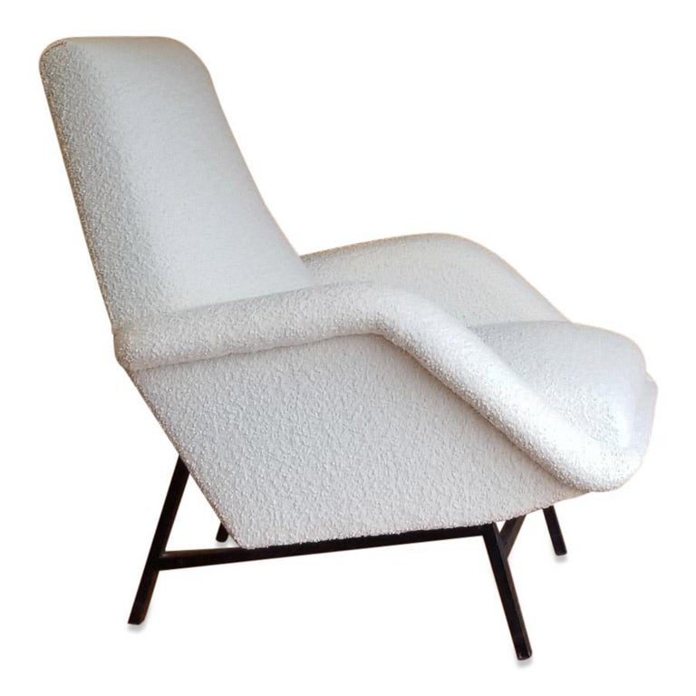French Rare Pair of Creme Bouclette Guy Besnard Armchairs, France, 1950s For Sale