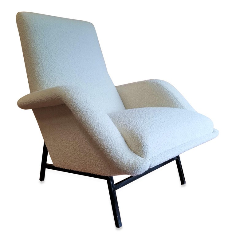 Mid-20th Century Rare Pair of Creme Bouclette Guy Besnard Armchairs, France, 1950s For Sale