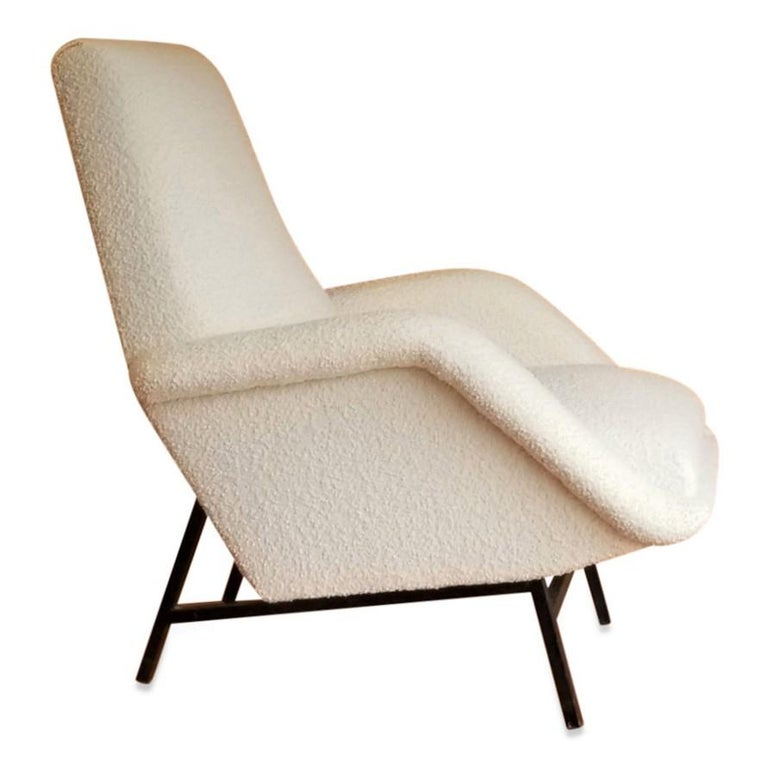 Steel Rare Pair of Creme Bouclette Guy Besnard Armchairs, France, 1950s For Sale