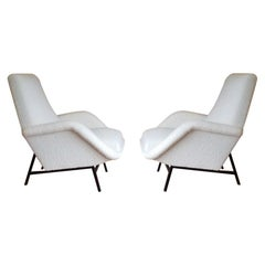 Rare Pair of Creme Bouclette Guy Besnard Armchairs, France, 1950s