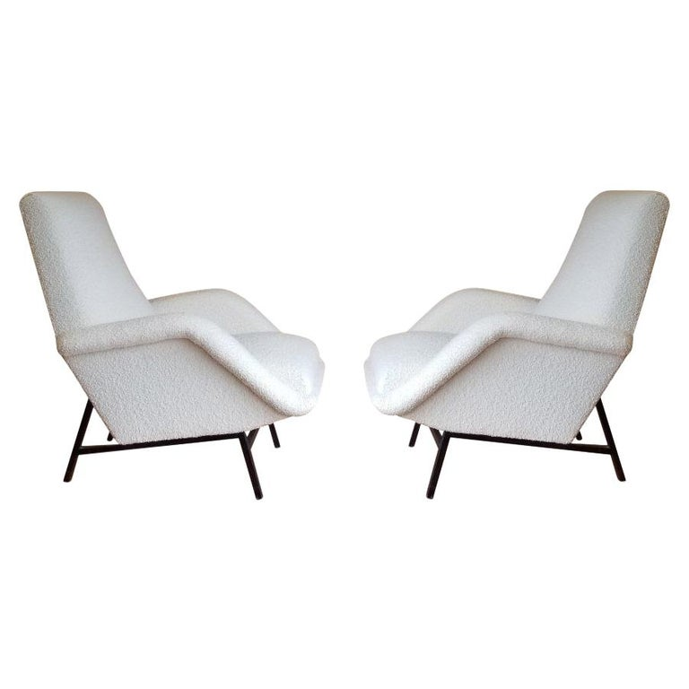 Rare Pair of Creme Bouclette Guy Besnard Armchairs, France, 1950s For Sale