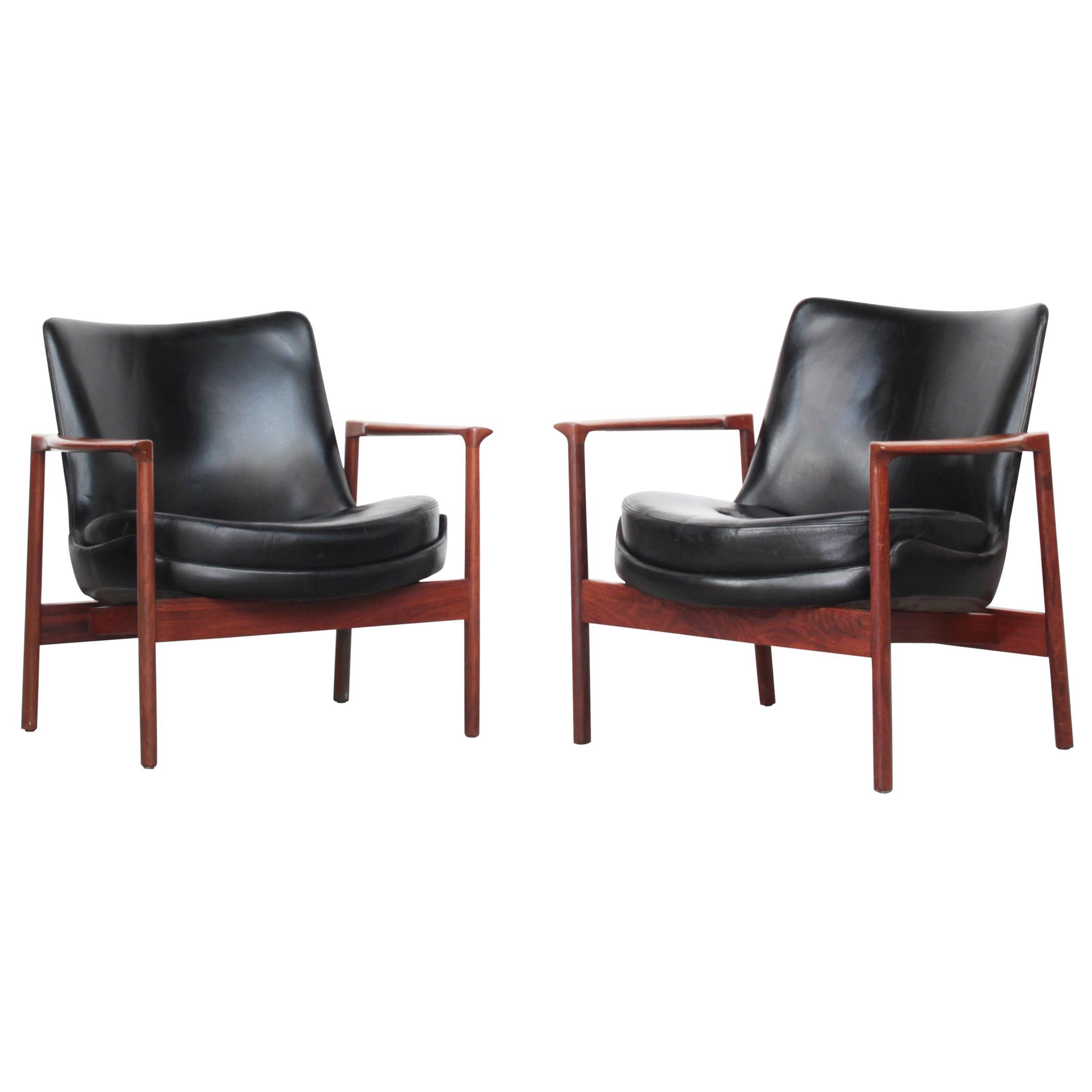 Rare Pair of Danish Lounge Chairs by Ib Kofod-Larsen
