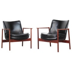 Rare Pair of Danish Lounge Chairs by Ib Kofod-Larsen