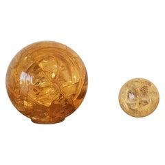 Rare Pair of Decorative Fractal Resin Balls by François Godebsky, France 1970s
