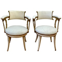 Rare Pair of Dorothy Draper Neoclassical Aluminum and Enamel Armchairs