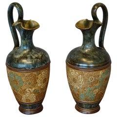 Rare Pair of Doulton Lambeth Vases with Striking Golden & Enameled Flower Decor