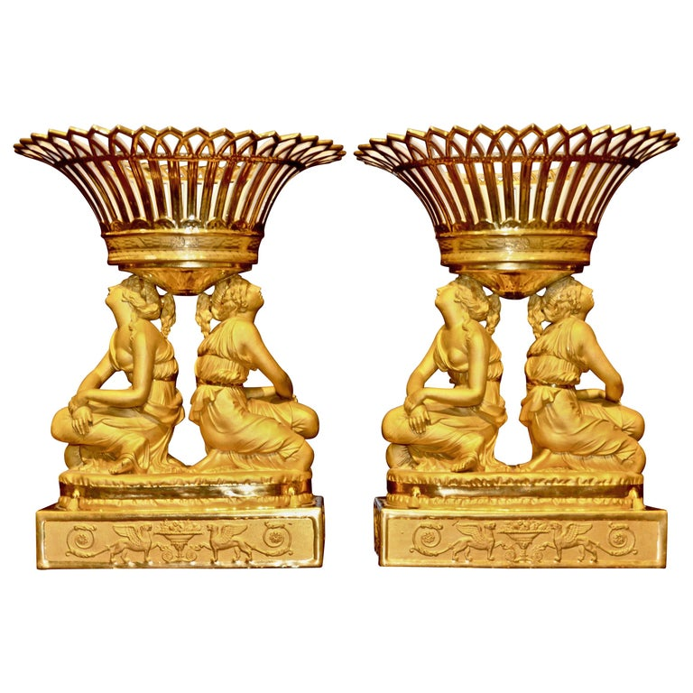Rare Pair of Early 19th Century Sevres Attributed Figural Porcelain Centrepieces For Sale
