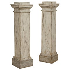 Rare Pair of Fine Swedish Gustavian Pedestals, Faux Marbleized Finish, Ca. 1795
