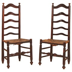 Rare Pair of Five Slat Ladderback Side Chairs