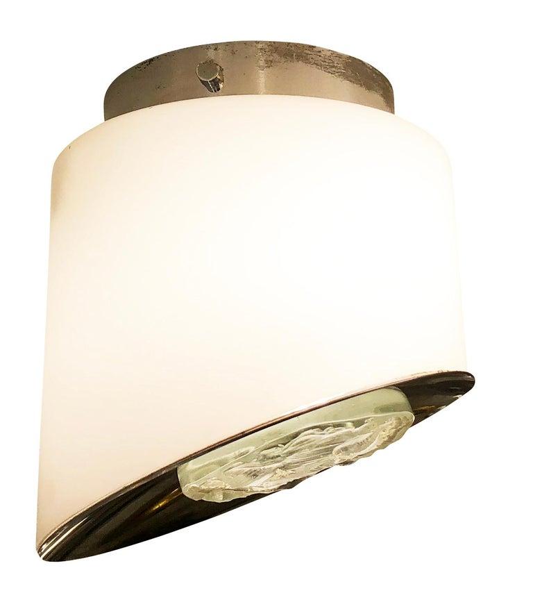 Glass Rare Pair of Fontana Arte Wall Lights or Flush Mounts Model 2466 For Sale