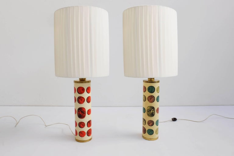 Rare pair of Fornasettitable lamps mod. Cammei, Italy, 1968. Literature: Fornasetti, by Barnaba Fornasetti. Text by Mariuccia Casadio, 2009 Electa Lamp shades are new.