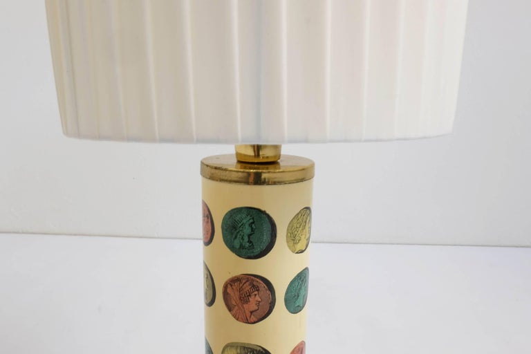 Metal Rare Pair of Fornasetti Table Lamps Mod. Cammei, Italy, 1968 For Sale