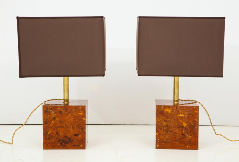 Rare Pair of Fractal Resin Lamps with Black and Gold Shades, Italy In Excellent Condition For Sale In New York, NY