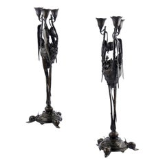 Rare Pair of French Antique Bronze Candelabra by Auguste Nicolas Cain