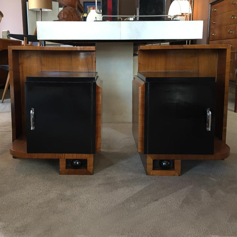 Stunning original rare pair of French bedside tables in wood and ebonized wood, France, 1930.
