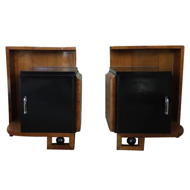 Rare Pair of French Bedside Tables 1930s